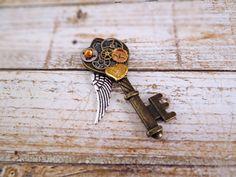 Steampunk key pendant Steampunk winged key by BulletsBeadsBaubles