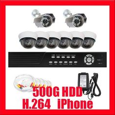 "Professional 8 Channel H.264 DVR with 2 x 1/3"" Sony CCD Outdoor Cameras, 520 TV Lines, and 6 x 1/3"" Sony CCD Indoor Cameras, 540 TV lines CCTV Surveillance Video Camera System Package . $720.00. Package Includes: G-2548SV-N DVR with 500G HDD Remote Control and mouse 2 x G-630A -1/3"" Sony CCD Outdoor Camera 6 x G-724A -1/3"" Sony CCD Indoor Camera 2 x G-125CAW: 125 feet pre-made cable BNC 2 x G-100CAW: 100 feet pre-made cable BNC 4 x G-60CAW: 60 feet pre-made cable BNC 1 x 12V5A Po... Cctv Surveillance, Security Surveillance, Security Camera, Outdoor Camera, Aleta, Video Camera, Hdd, Remote, Electronics"