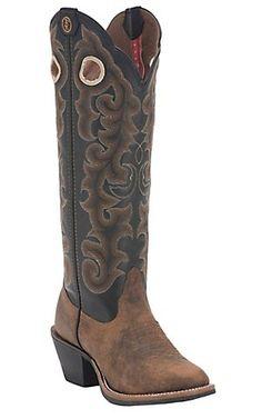 Tony Lama 3R Women's Whiskey Brown w/Black Top Round U-Toe Buckaroo Western Boots | Cavender's
