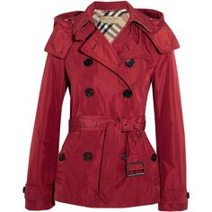 Burberry Brit Hooded shell trench coat ($750) ❤ liked on Polyvore featuring outerwear, coats, hooded coat, red coat, burberry, double-breasted trench coat and red trenchcoat