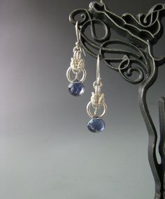 Byzantine Drop Chainmail Earrings with Iolite by WolfstoneJewelry