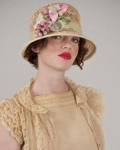 Demi, natural, lacy jute straw hat with vintage velvet berries and leaves