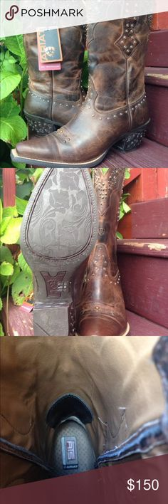 Brand New Women's Ariat Brown Studded Boots 10B Brand New With Tags Women's Ariat Studded Rhinestone Pointed Toe Western Cowboy Boots, Size 10B. These are extremely adorable, and would be great for Rodeos, Weddings, Or to even wear on the town. There is a place on the toe that is pictured. Just Remember!! These are brand new boots and will need to be broken in for to be more comfortable. Ariat Shoes Heeled Boots