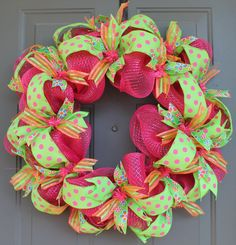Spring Deco Mesh and Ribbon Wreath by AllWrappedUpInRibbon on Etsy