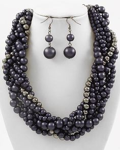 "CHUNKY NAVY FAUX PEARL HEMATITE TONE NECKLACE SET     * If you need a necklace extender I have them for sale in my store.*        NECKLACE: 16 1/4"" + EXT    LOBSTER CLAW CLOSURE       HOOK EARRINGS: 2 1/8"" LONG           COLOR: HEMATITE TONE  $20.99"