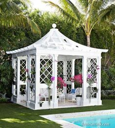 A gazebo is a pavilion structure, often built in a garden, next to the pool. We have a bunch of cool ideas showing how you can decorate a pool gazebo. Chinoiserie, Outdoor Rooms, Outdoor Gardens, Outdoor Furniture, Outdoor Living, Beach Gardens, Palm Beach, Newport Beach, Landscape Design