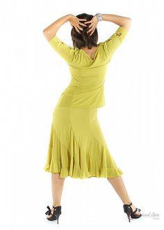 Natural Spin Signature Dance Tops(Short Sleeve):  LT12_YELLOW