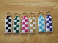 Checker Key chain  Plastic Canvas by ShanaysCreation on Etsy, $4.00