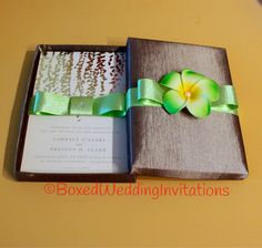 Beach Wedding Invitation Box / Destination Wedding Hawaiian Tropical Flower Invitation Box / Luxury Invitation Box by BoxedWedding on Etsy