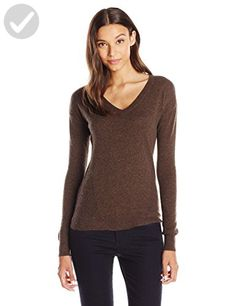Lark & Ro Women's V-Neck Cashmere Sweater, Bright Crimson - http ...