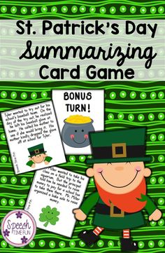 Speech Time Fun: St. Patrick's Day Summarizing Card Game! 36 task cards, visual aid, and a review worksheet to practice using somebody-wanted-but-so-then!