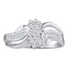 14k White Gold 0.18Ctw Round Diamond Ladies Cluster Ring