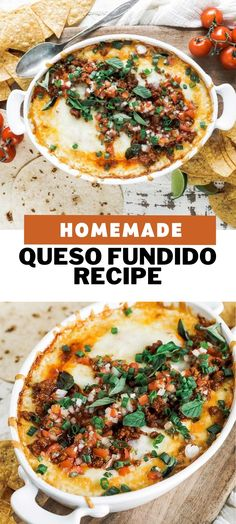 You will love this authentic homemade queso fundido recipe featuring chihuahua and Oaxaca cheese that is baked with chorizo and pico de gallo. This appetizer is so good and can be cooked in the slower cooker as well! Chorizo Recipes, Cheese Recipes, Cooking Recipes, Cheese Dips, Queso Cheese, Yummy Appetizers, Appetizer Recipes, Mexican Food Appetizers, Appetizer Ideas