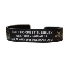 Ssgt Forrest Sibley Bracelet 7 Black Aluminum 15 Bracelets For America Kia Memorial