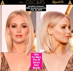 Jennifer Lawrence looked seriously stunning at the 2016 Academy Awards, with her blonde hair parted in the center and styled sleek and straight.