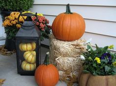 My Front Porch for Fall...pumpkins, fall flowers, lanterns and a fun c :: Hometalk