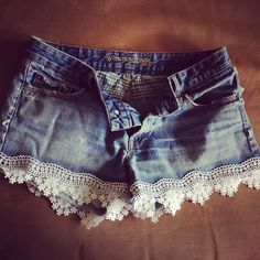 DIY Lace Shorts  1. 4 Feet of lace trim, give or take  2. Pin lace to shorts  3. Hand sew lace to shorts