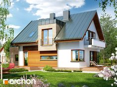Dom w amarylisach (P) Home Fashion, Cabin, House Design, Mansions, House Styles, Building, Home Decor, Modern, Decoration Home