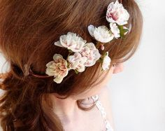 wedding hairpiece pink and gold headband gold by thehoneycomb