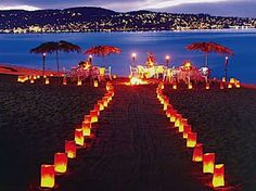 The outdoor lighting for this beach wedding ceremony and reception sets the most calming and romantic & 15 best outside lights images on Pinterest   Cool ideas Backyard ...