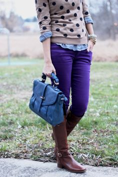 Bright indigo pants —this might be next on my list of wants for spring.