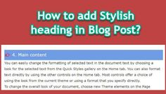 How to add stylish heading in blog post