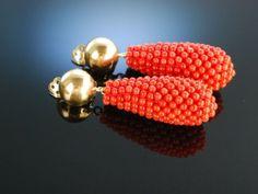 Finest coral earrings woven! Große Ohrringe Ohrclipse Silber 925 vergoldet gefädelte Edelkoralle Sardegna Koralle
