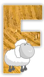 Alfabeto de campo con oveja.