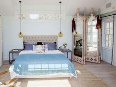 Spiegel Feng Shui Stil blaue Bettdecke Deko Ideen