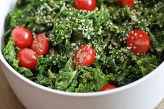 Spicy Kale Salad:    1 bunch kale  1 avocado  juice of one lemon  2 TBS Nutritional Yeast Flakes  a couple dashes of Tamari  sea salt to taste if needed  1/2 dropper liquid stevia  dash or more to taste of cayenne and fresh ground black pepper  chopped vegetables of your choice