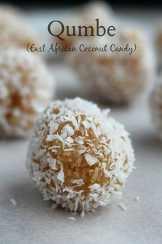 "Qumbe (East African Coconut Candy) I ""Pretty tasty and fairly easy to make. I might try toasting the coconut used for coating the outsides. Candy Recipes, Dessert Recipes, Easter Recipes, Yummy Recipes, Free Recipes, African Dessert, Coconut Candy, Coconut Balls, Coconut Milk"