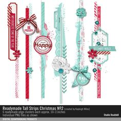 Readymade Tall Strips: Christmas No. 02 a set of paper and painted edgers perfect for your december daily albums and more available for instant download for your scrapbooking and card making projects #designerdigitals
