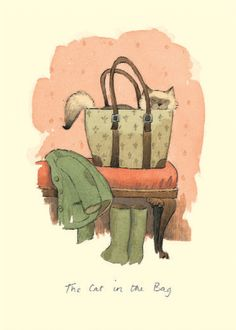 IA47 CAT IN A BAG by Alison Friend - A Two Bad Mice Greeting Card