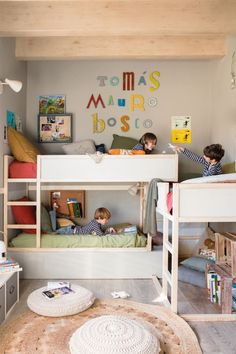 How to make multiple bed layout Work - 6 shared kids room ideas! - Paul & Paula Here are 6 shared kids room ideas for you. Bunk beds, corner built-ins, side by side and more. lots to take away and copy for your own home. Bunk Bed Designs, Bedroom Designs, Kids Bunk Beds, Boys Bedroom Ideas With Bunk Beds, Small Bunk Beds, Shared Rooms, Kids Room Design, Boy Room, Room Inspiration