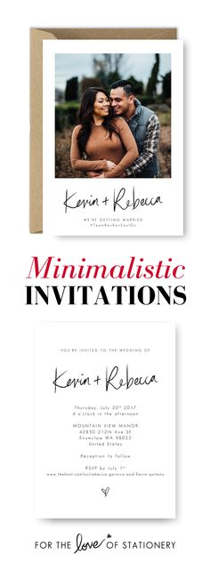 Minimalistic Invitations for Your Wedding | Nice & Simple Wedding Invitations | Brush Lettering Wedding Printables