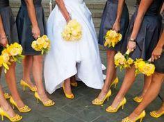 Grey  Yellow... maybe black heels though