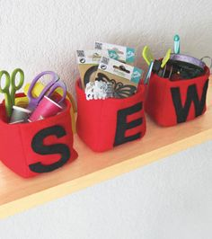 Craft Room Ideas | Felt Sewing Baskets by @joannstores | Organized Sewing Room  | Organized House