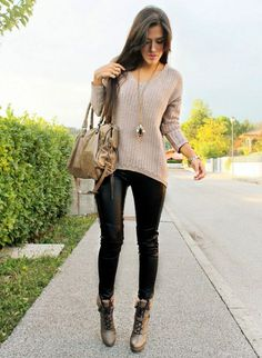 Keep it simple with a knit sweater and leather leggings!