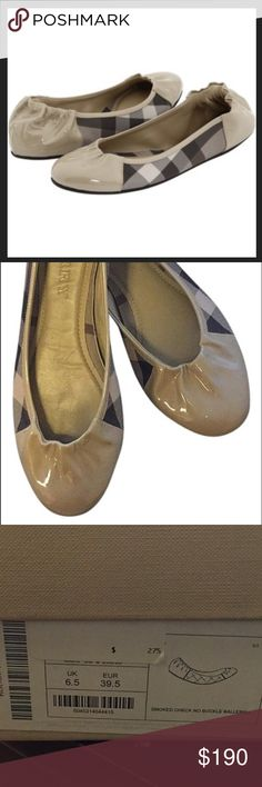 Burberry Smoked Checkered Ballerina Flats Patent leather and nylon upper. Rounded toe. Elasticized vamp and heel trim. Leather lining. Rubber sole. Burberry Shoes Flats & Loafers