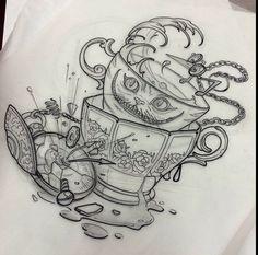 Alice in wonderland tattoos i want dibujos a lápiz, gráfica de tatuaje, dis Trendy Tattoos, Love Tattoos, Beautiful Tattoos, New Tattoos, Body Art Tattoos, Tattoo Sketches, Tattoo Drawings, Cool Drawings, Alice Tattoo