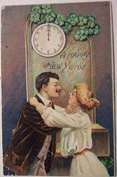 Vintage New Years Postcard Vintage Happy New Year, Happy New Year Photo, Happy New Year 2019, New Year Wishes, New Year Greetings, New Year Card, Victorian Life, Victorian Christmas, Vintage Christmas Cards