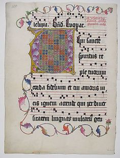Manuscript Leaf from an Antiphonary  Date:    second quarter 15th century  Geography:    Made in, probably Mainz, Germany  Culture:    German  Medium:    Parchment, tempera, ink, metal leaf  Dimensions:    20 3/16 x 14 15/16 in. (51.2 x 38 cm)  Classification:    Manuscripts & Illuminations  Credit Line:    Gift of Miss Alice M. Dike, in memory of her father, Henry A. Dike, 1928