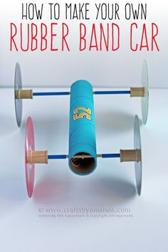 Making a Rubber Band Car - STEM Activities for Elementary kids!You can find Rubber bands and more on our website.Making a Rubber Band Car - STEM Activities for Elementary kids! Steam Activities, Science Activities, Science Projects, School Projects, Activities For Kids, Science Experiments, Science Lesson Plans, Science Education, Higher Education