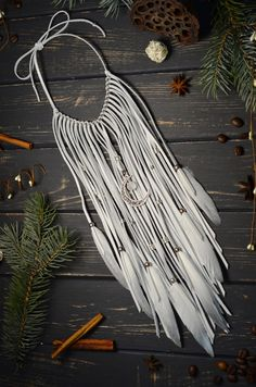 White feathers statement necklace Extra long leather necklace Boho wedding necklace Leather and feathers necklace White wedding necklace Feather Necklaces, Tribal Necklace, Handmade Shop, Etsy Handmade, Macrame Colar, Estilo Hippie Chic, White Feathers, Etsy Crafts, Stainless Steel Chain