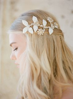 long hair down wedding hairstyles with jewelry accessory