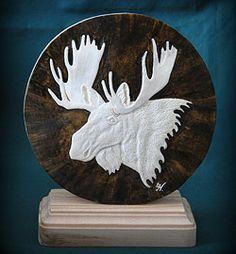 'Moose Portrait' (carved moose antler, colour) by Ute Hengsberg