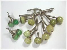STERLING Mexico Mexican - Branch & Berries Banded JADE Brooch & Earrings 2+ Ozs