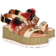Sanchita Multi Raffia Flatform Maarit Sandals ($495) ❤ liked on Polyvore featuring shoes, sandals, raffia sandals, open toe sandals, platform shoes, multi colored sandals and bohemian sandals