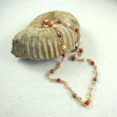 Necklace, Racey Red Pearly Chain