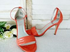 Ladies Shoes Size 10 by 'Hot Option' Coral Colour, Strappy Sandal As new - PL6